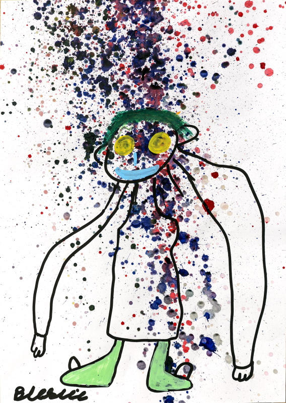 Dark blue, grey, dark red, peach and pink paint splattered on white paper. On top of this is an exaggerated outline of a person that has been drawn in thick black paint pen in a cartoon style.