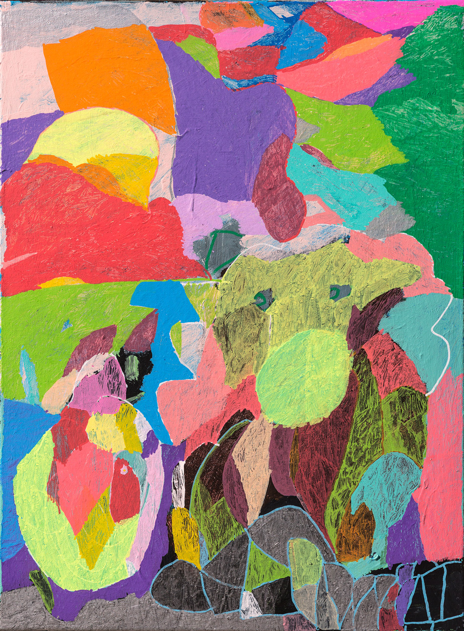 Portrait of colourful shapes with dog