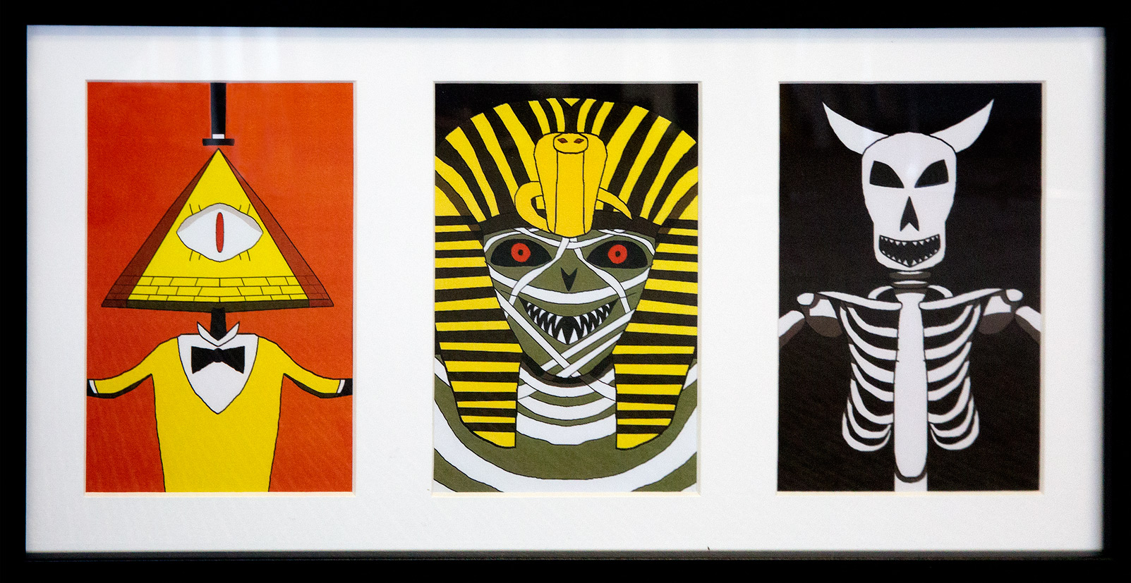 A triptych of cartoon monsters
